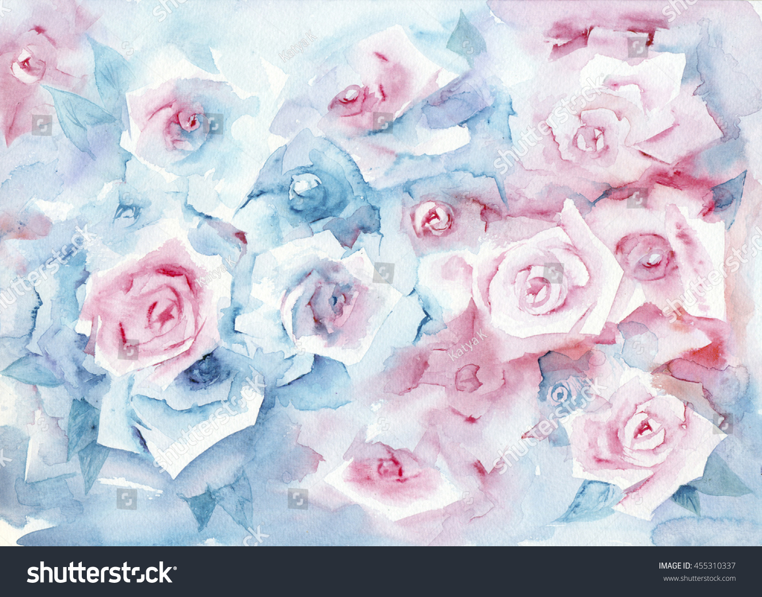 Watercolor Painting Roses Delicate Pastel Background Stock