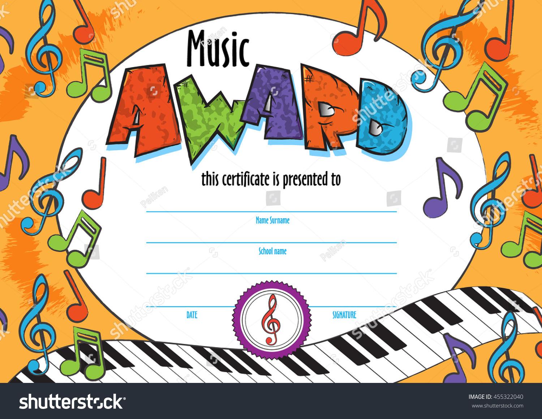 Template child music certificate be awarded stock photo photo template child music certificate to be awarded kindergarten preschool kids diploma design template vector yelopaper Choice Image