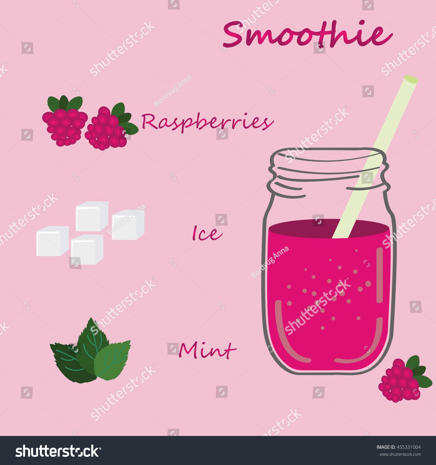 Recipe Detox Cocktail Raspberries Mint Ice Stock Vector 455331004