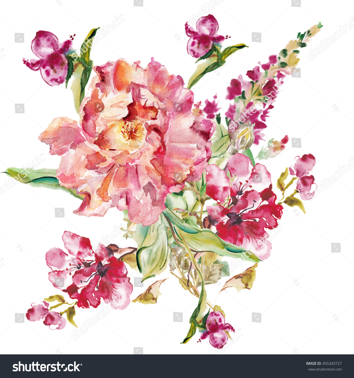 Flower watercolor background. Floral illustration Bouquet on a ...