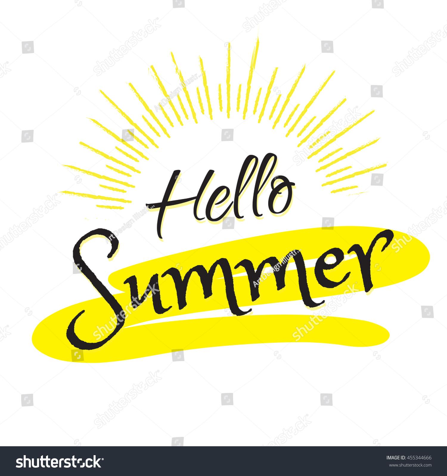 Hello Summer Calligraphy Text Vector Illustration Stock