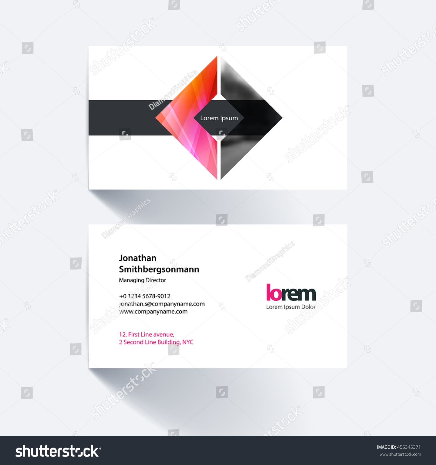 Vector Business Card Template Geometric Shape Stock Vector 455345371 ...