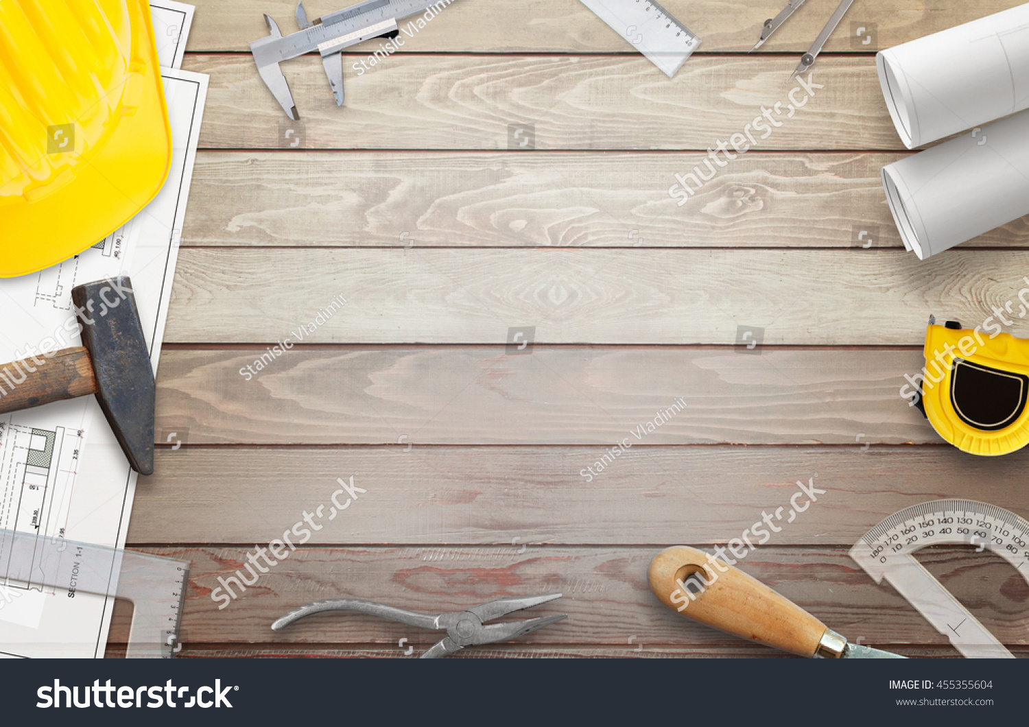 royalty free construction tools on worker desk free u2026 455355604