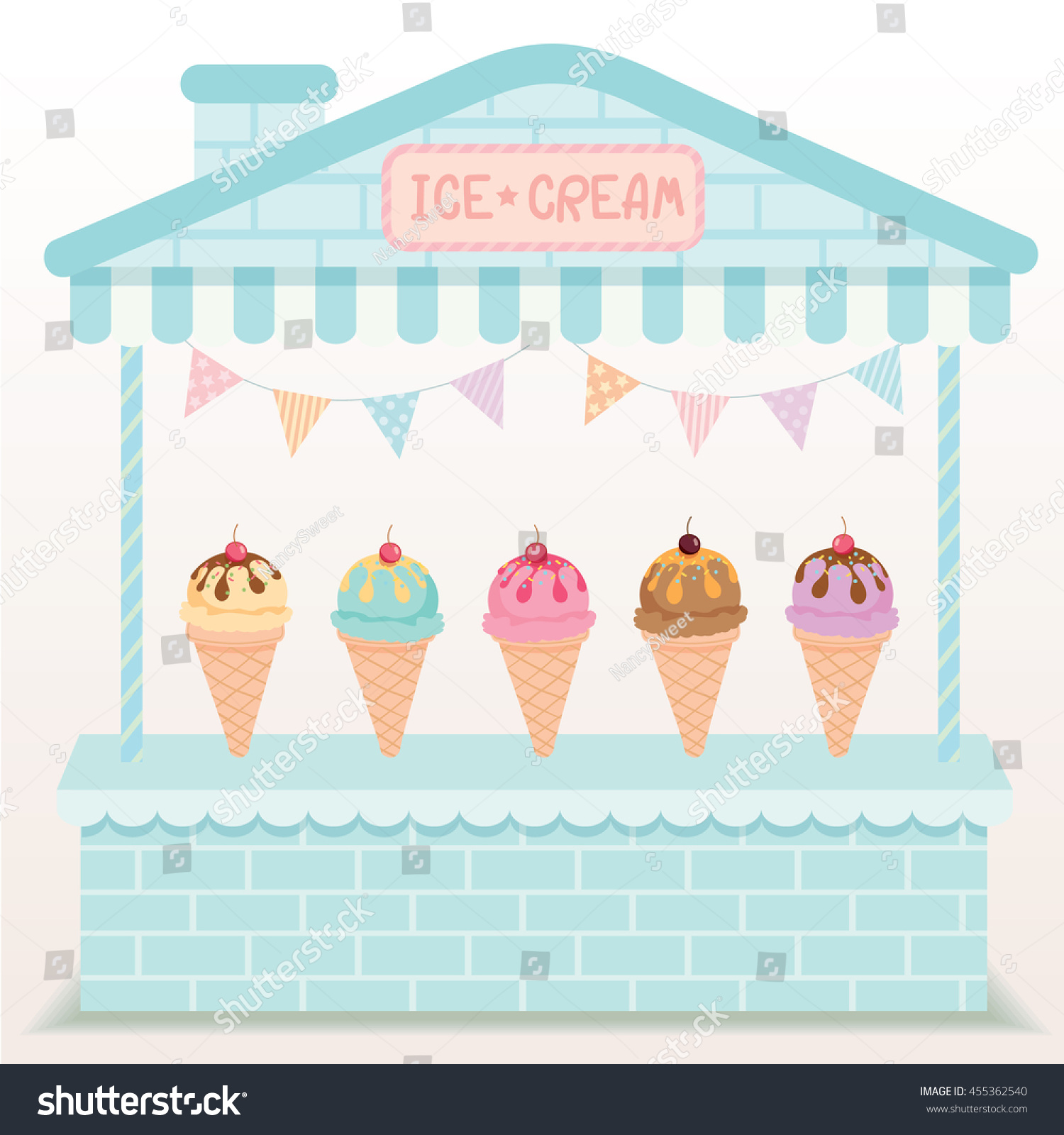 illustration various ice cream cone cafe display on cute house booth design with blue and - Cyan Cafe Interior