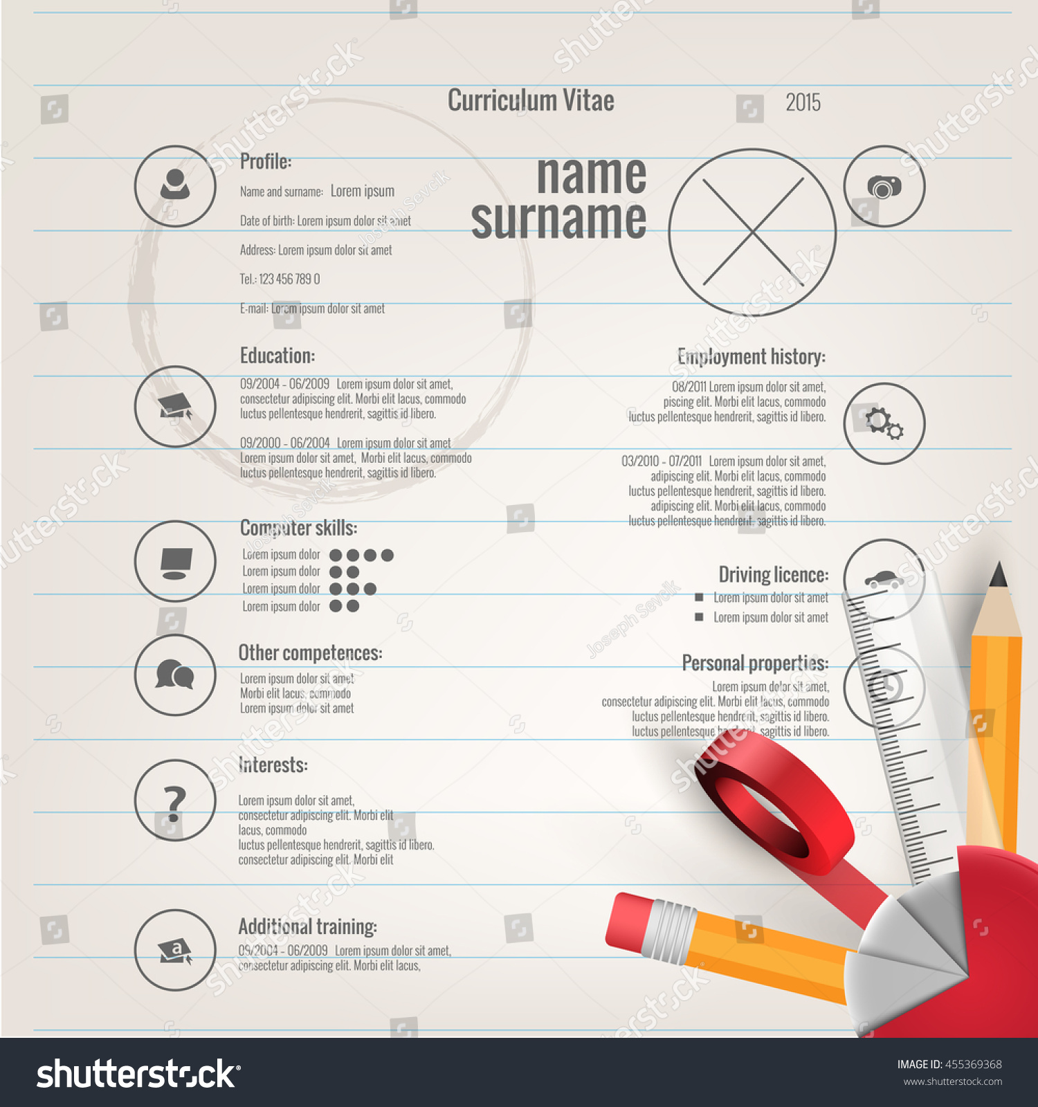 Vector Modern Cv Resume Template School Stock Vector