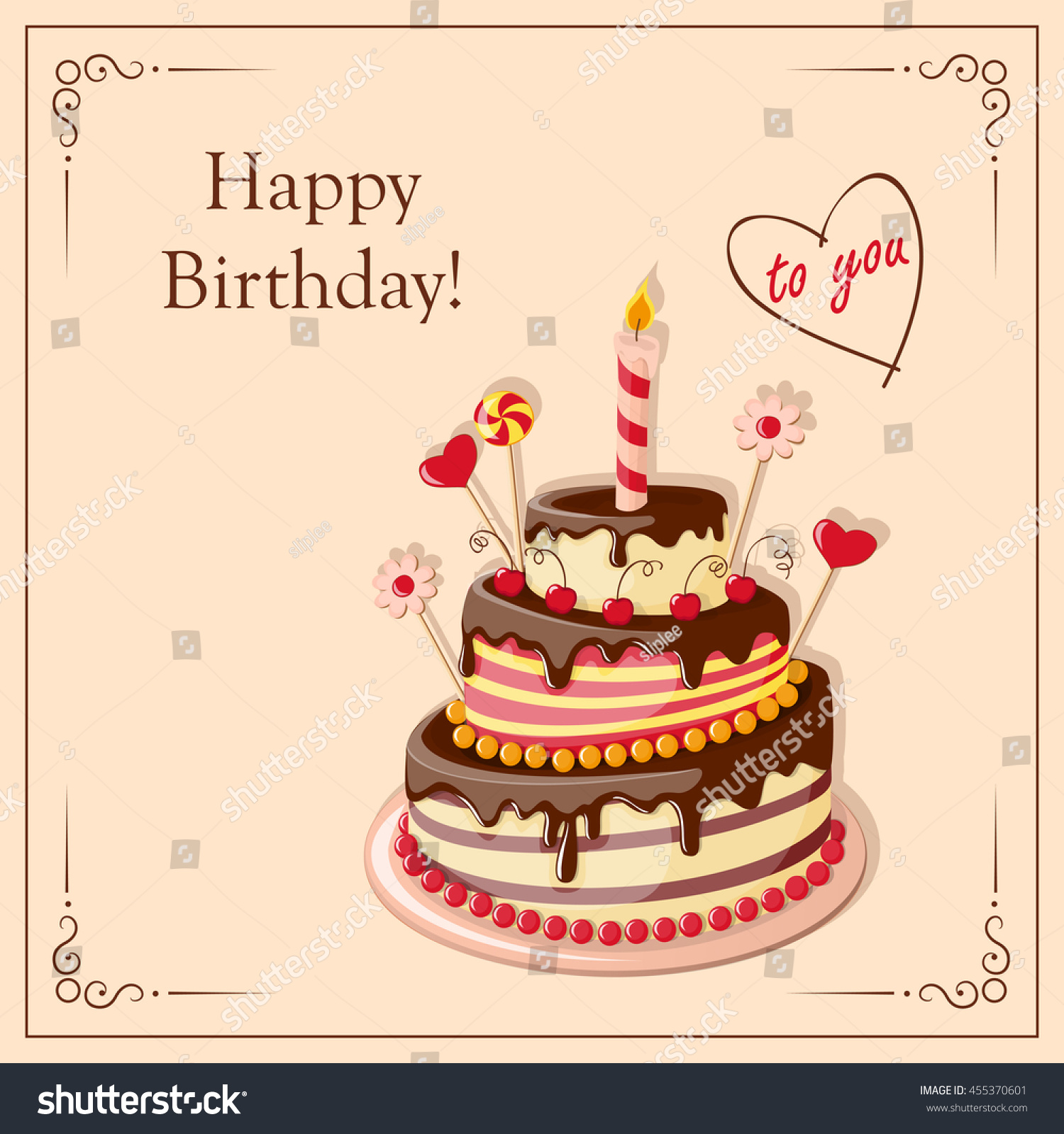 Festive Colorful Card Text Happy Birthday Stock Vector Royalty Free