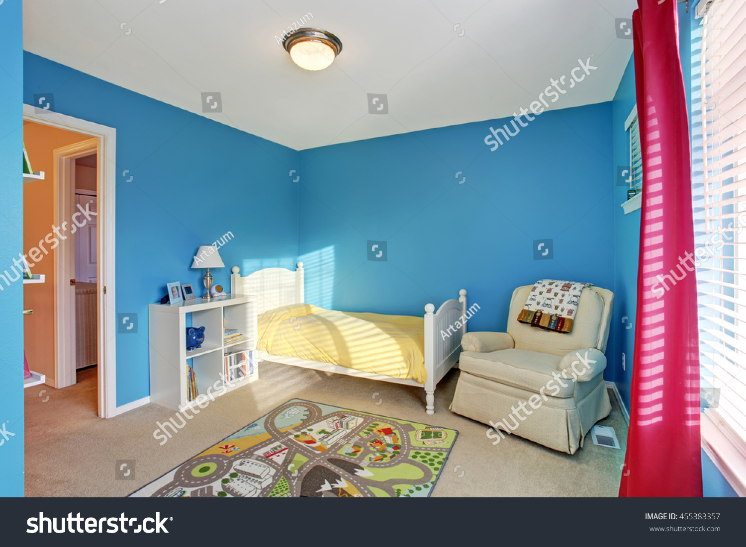 Image of: Cute Kids Room Blue Walls Carpet Stock Photo Edit Now 455383357