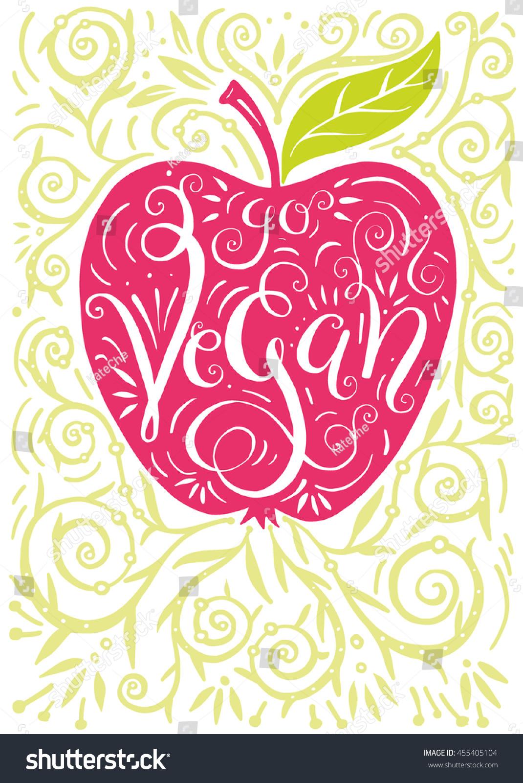 go vegan poster vector illustration apple stock vector 455405104