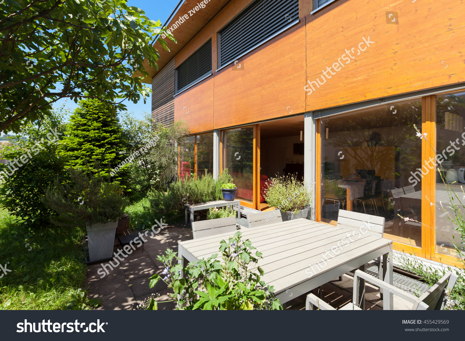 Veranda of a wooden house modern design
