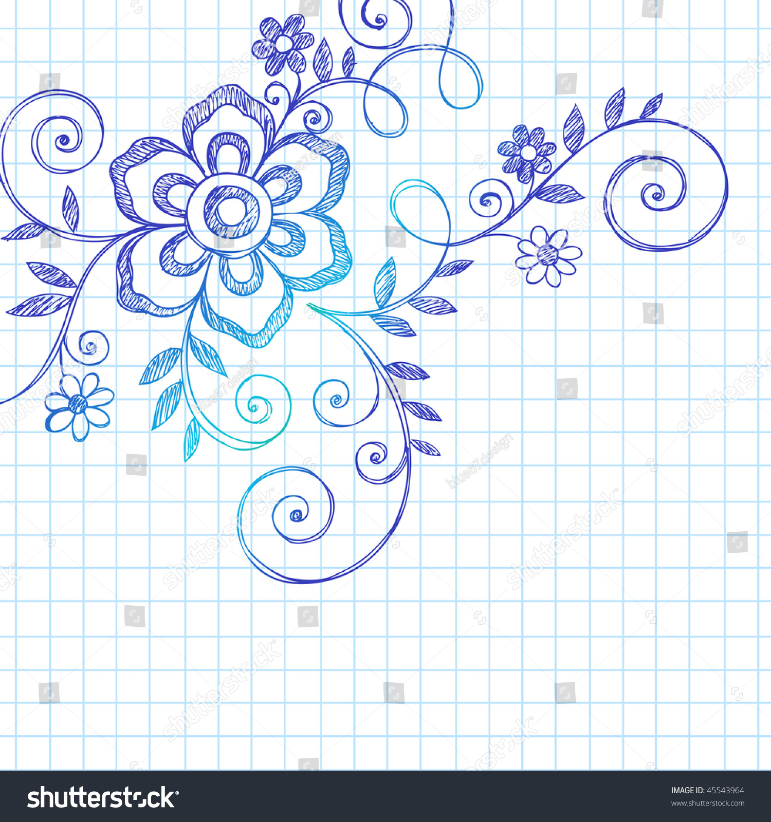 Handdrawn Abstract Flower Vines Sketchy Notebook Stock