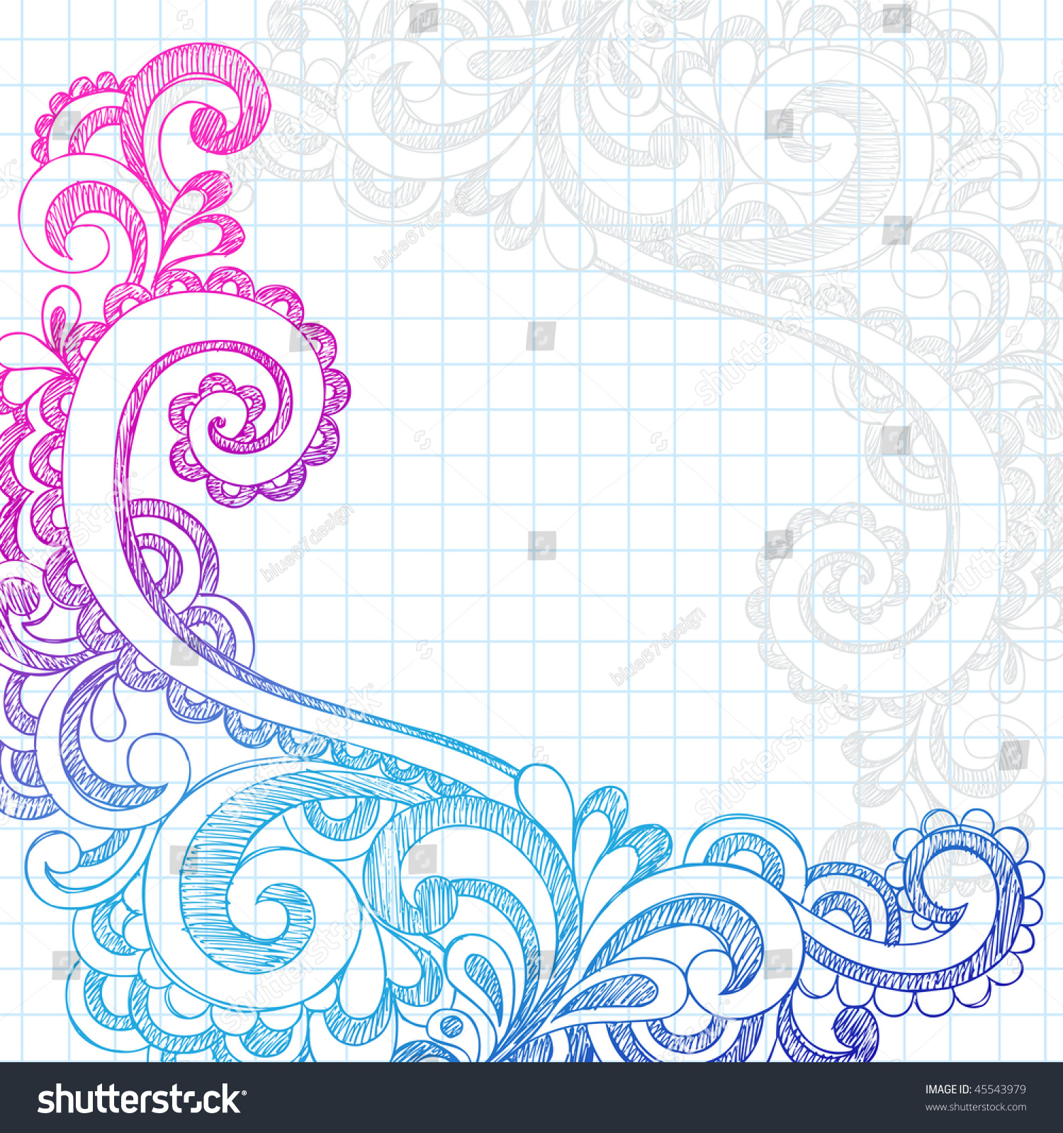 Simple flower border designs for school projects free download clip - Handdrawn Abstract Flower Paisley Sketchy Notebook Stock