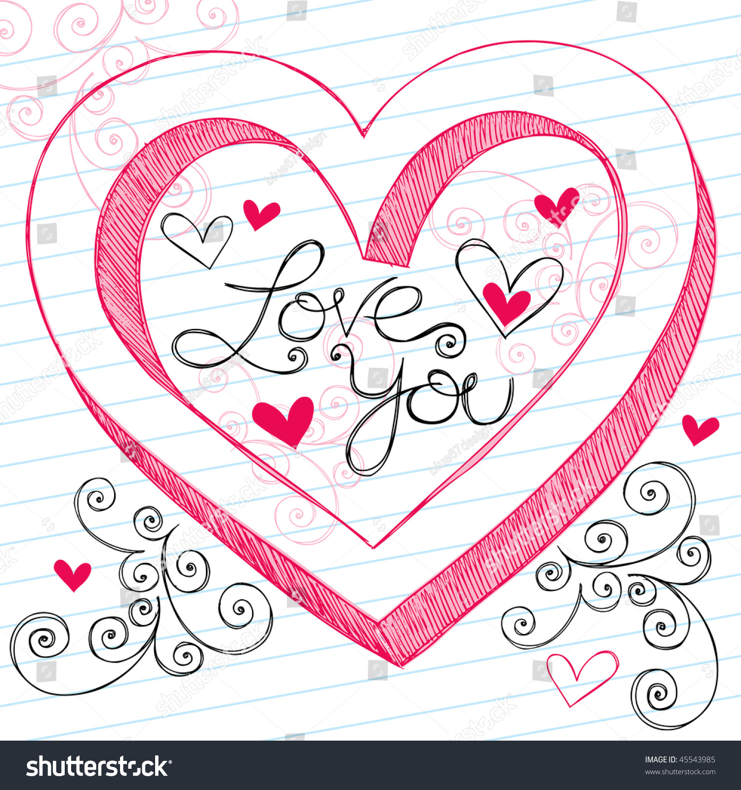 Hand Drawn 3 D Valentines Day Heart Love Stock Vector Royalty Free