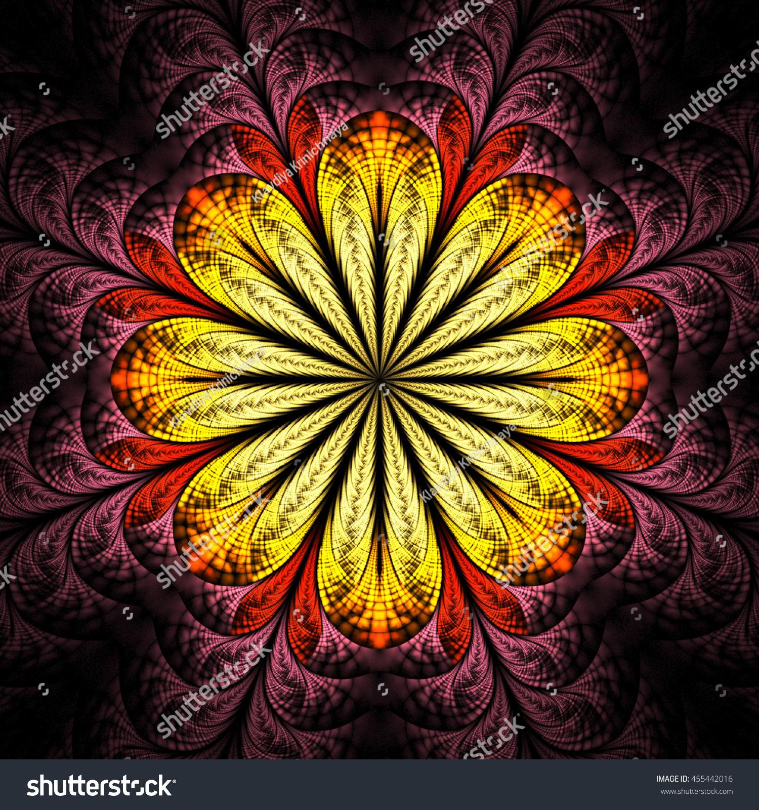 Fractal Black Flower Free Stock Photo: Abstract Flower Mandala On Black Background Stock