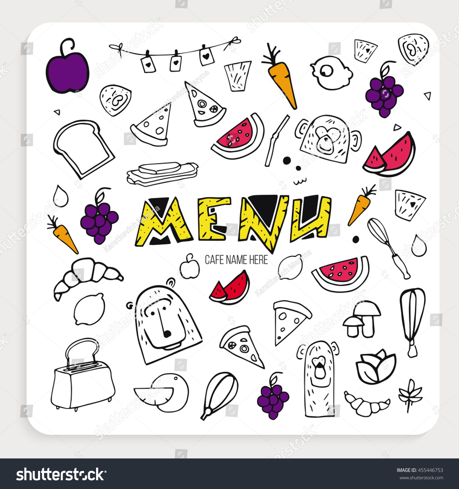 vector cover cafe menu childrens menu stock vector 455446753