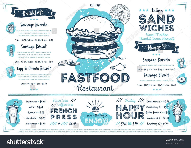 fast food menu design fast food stock vector 455453824