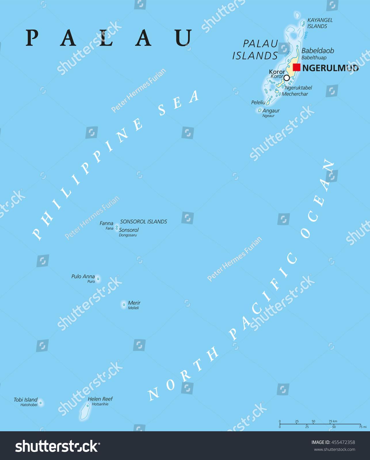Palau Political Map Capital Ngerulmud Republic Stock Vector - Palau map