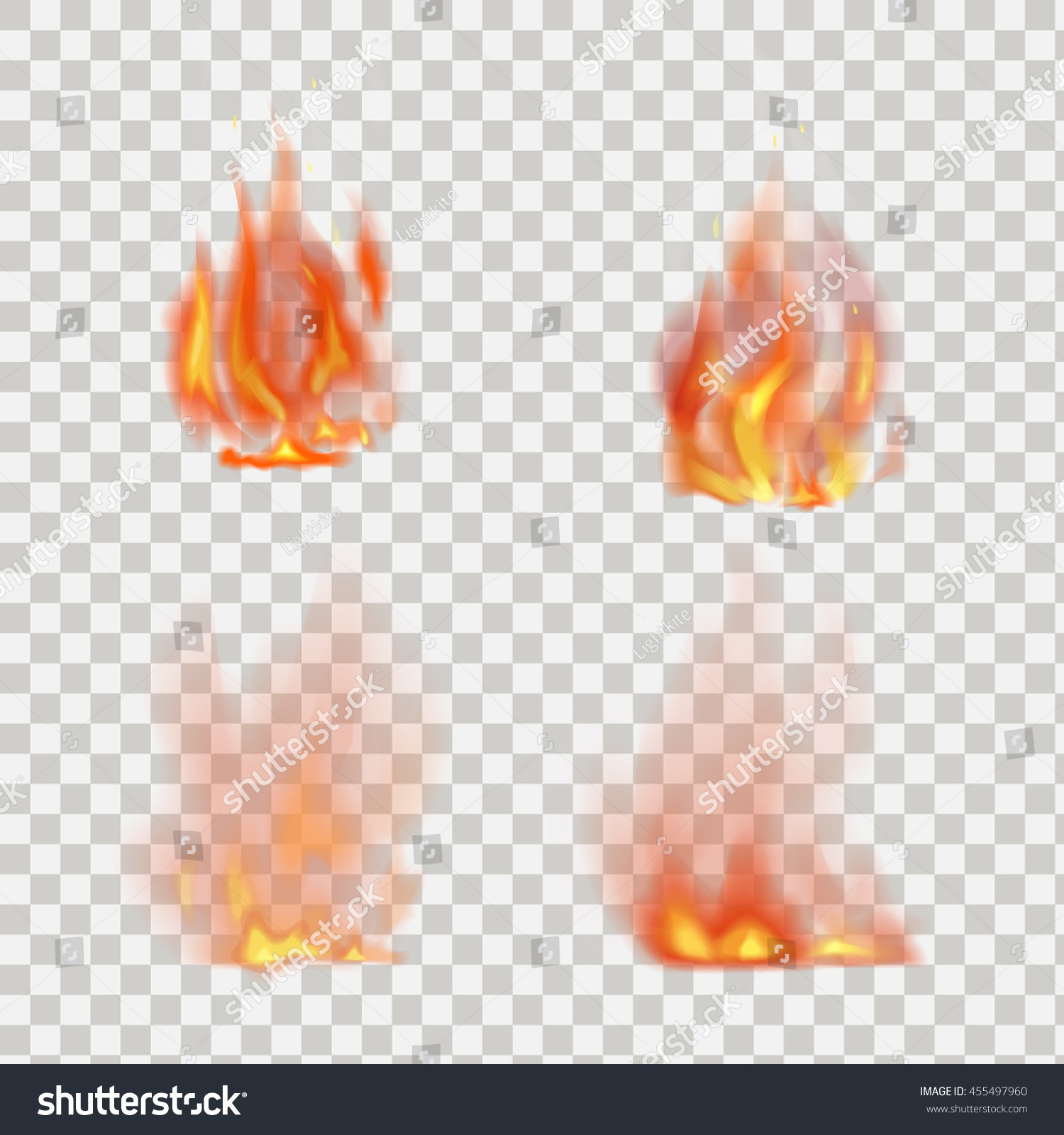 Realistic Fire Flames Vector On Transparent Stock Vector
