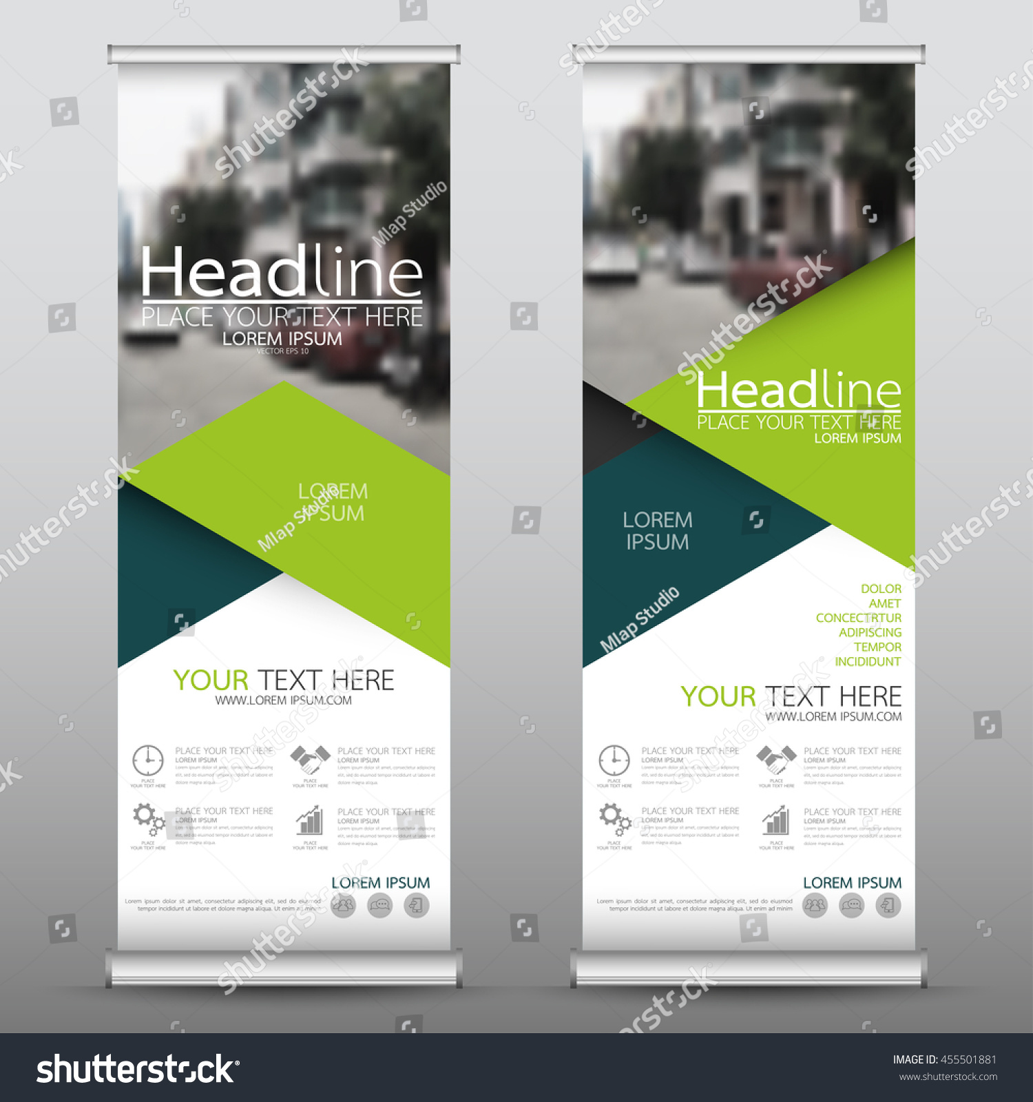Green roll up business brochure flyer banner design vertical template - Green Triangle Roll Up Business Banner Design Vertical Template Vector Cover Presentation Abstract Geometric Background