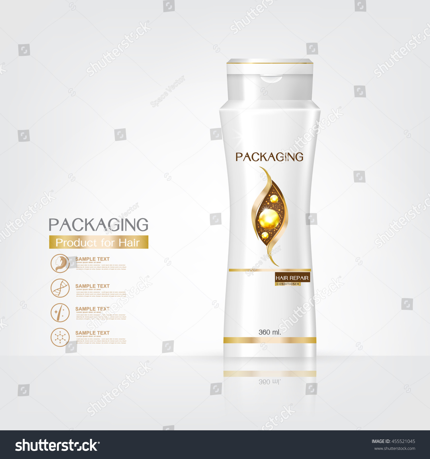 Packaging products Hair Care design shampoo bottle templates on White background