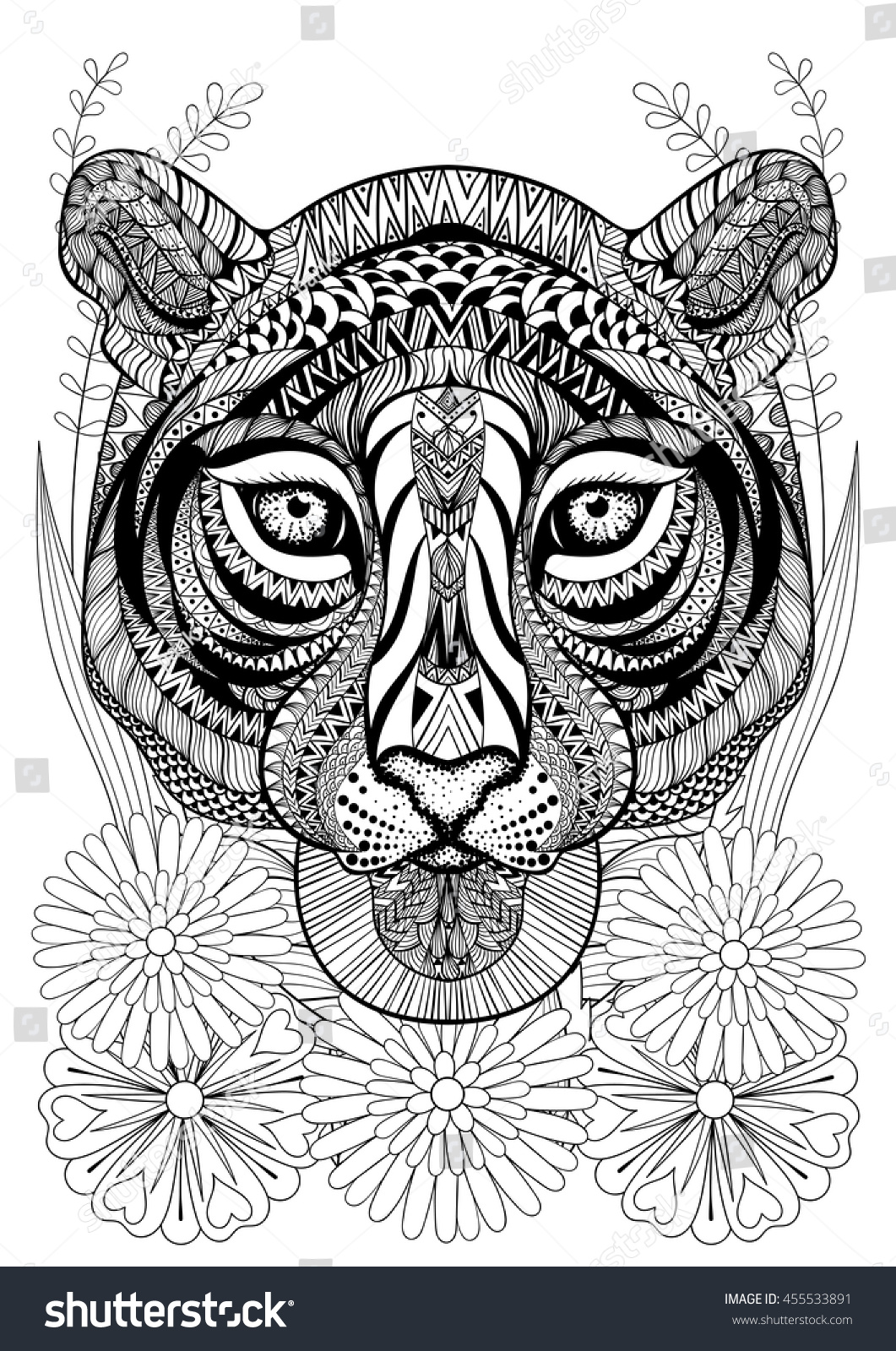 zentangle stylized tiger face on flowers hand drawn ethnic animal for adult coloring pages - Art Therapy Coloring Pages Animals