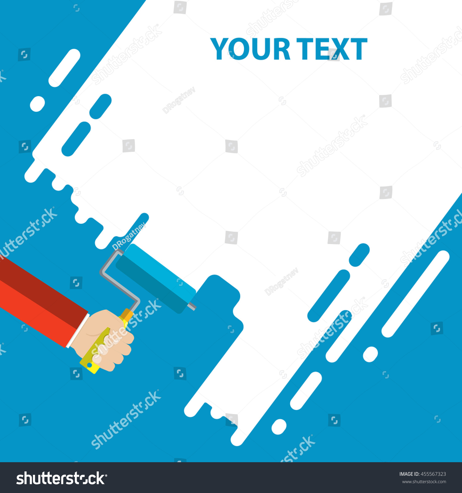 mens hand holds paint roller blue stock vector 455567323 men s hand holds a paint roller with a blue color interior design repair concept