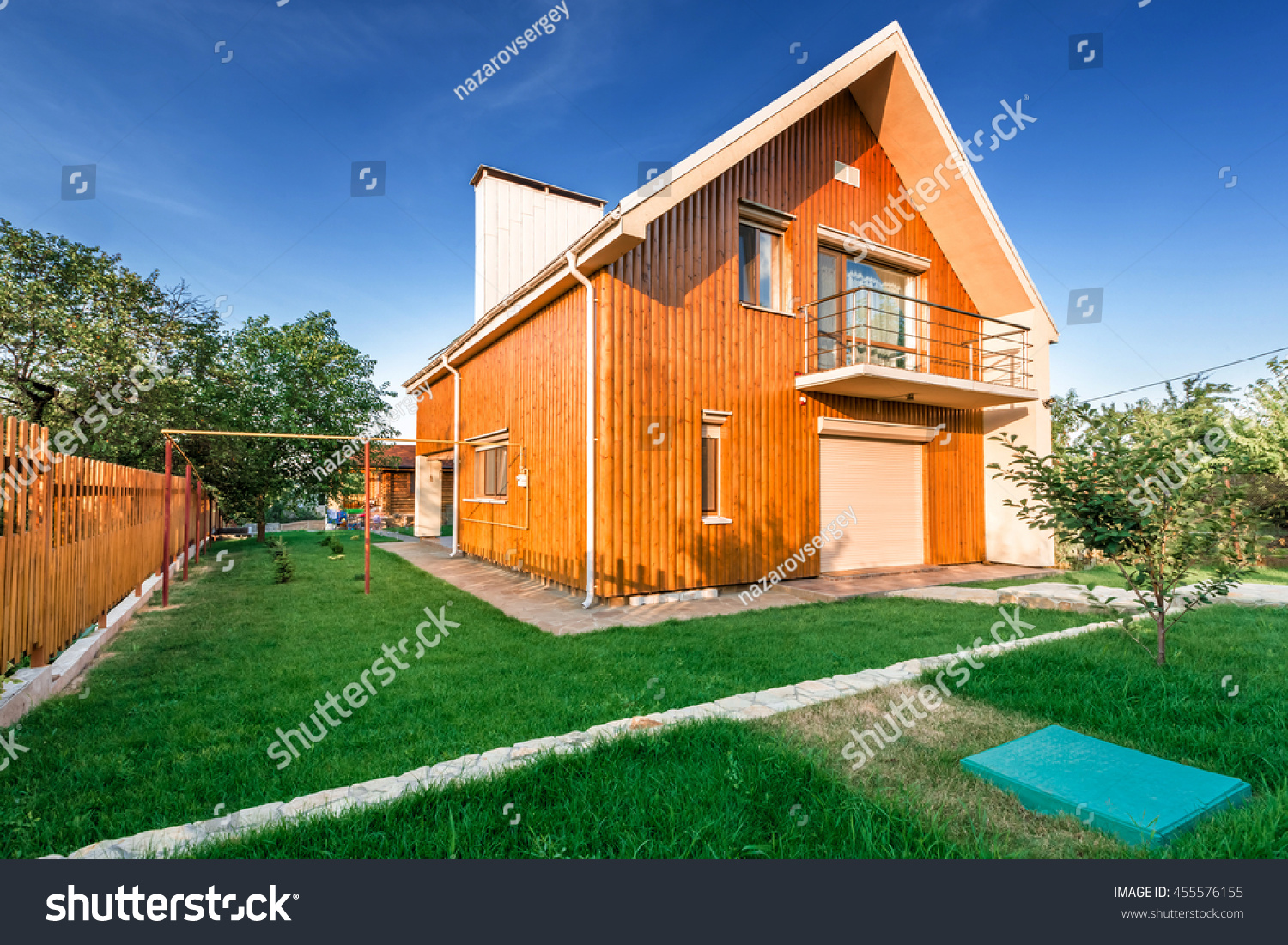 Wooden house meadow front stock photo 455576155 shutterstock for Meadow house