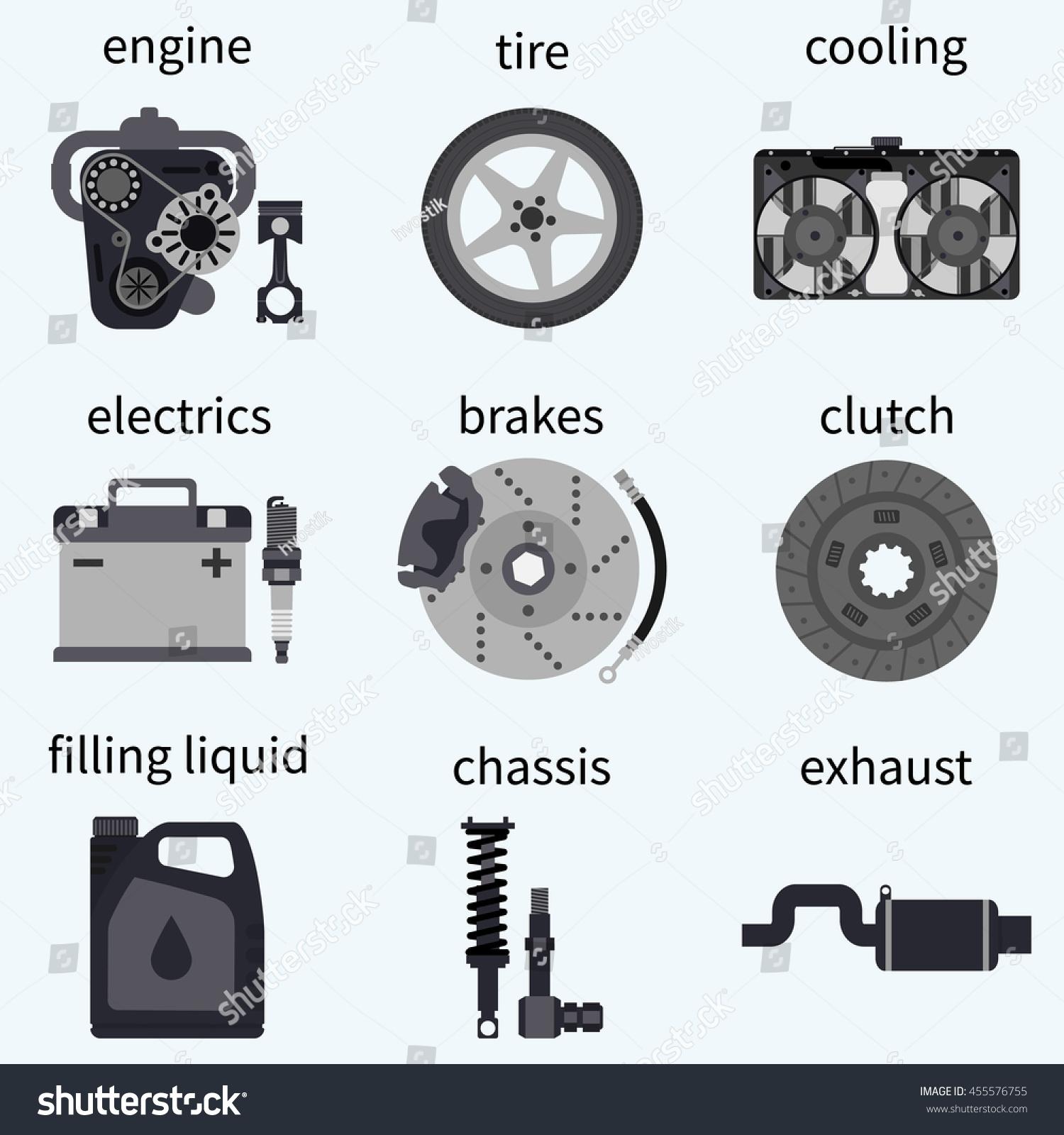 Design of a car radiator - Set Car Parts Automobile Systems Car Repairs Engine Wheel Piston