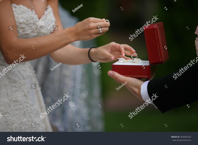 Beautiful Bride Take Wedding Ring Stock Photo 455604223 Shutterstock