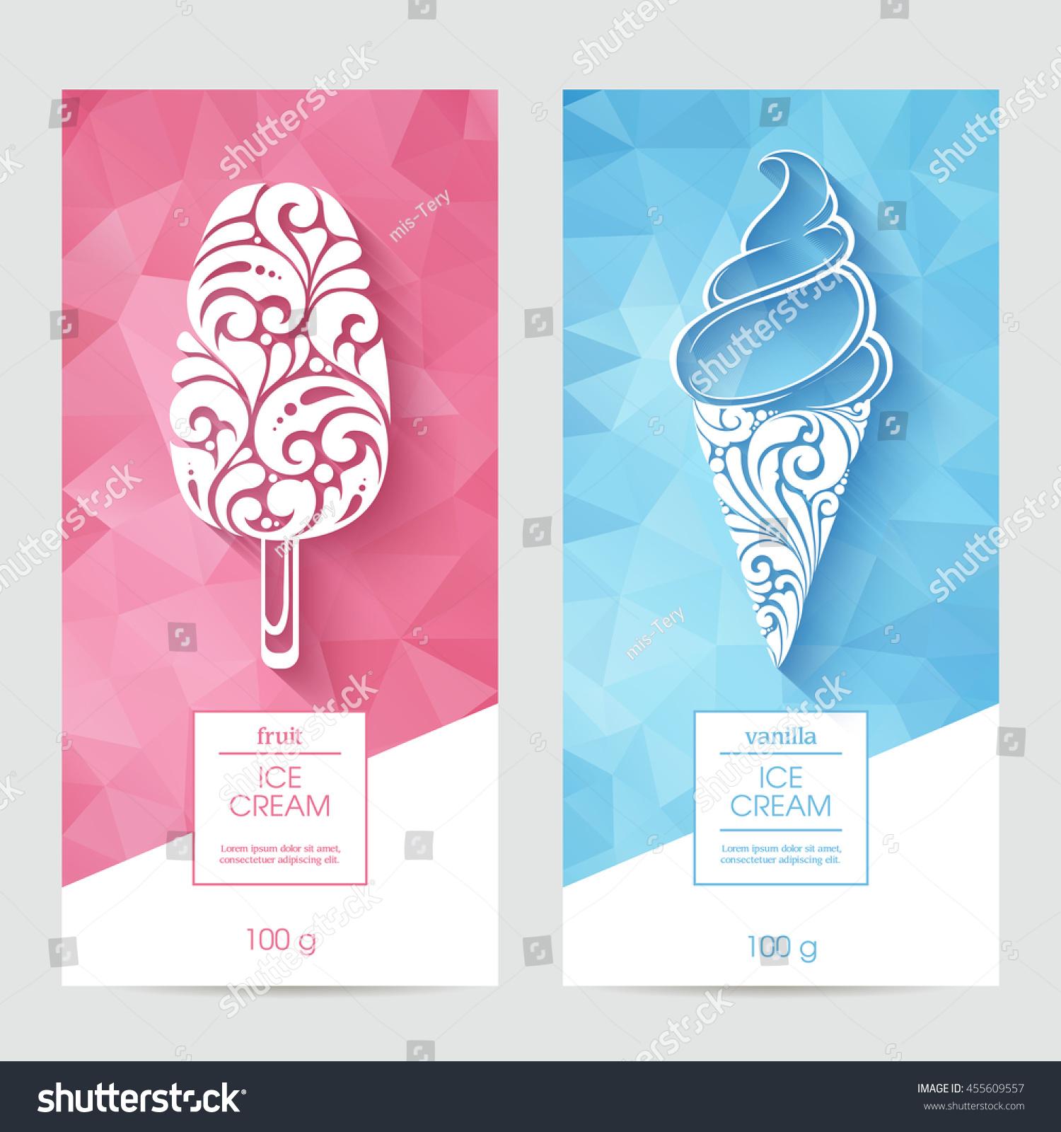 Vector Set Templates Packaging Ice Cream Stock Vector 455609557 ...
