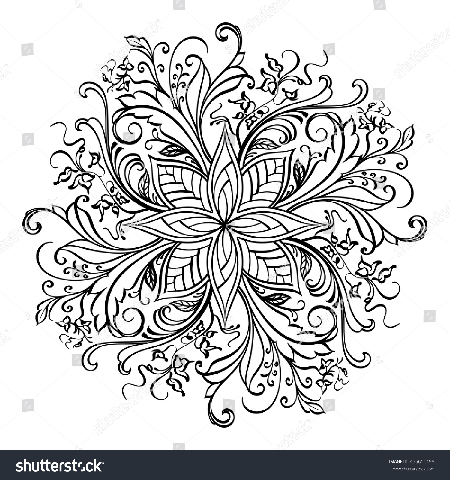 Black Floral Mandala On White Background Stock Vector