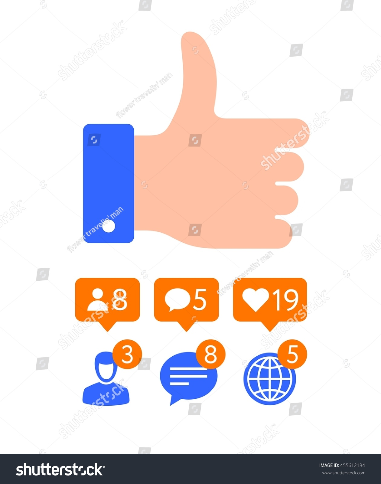Flat design thumb icon like symbol stock vector 455612134 flat design thumb icon like symbol message and notification set buycottarizona Choice Image