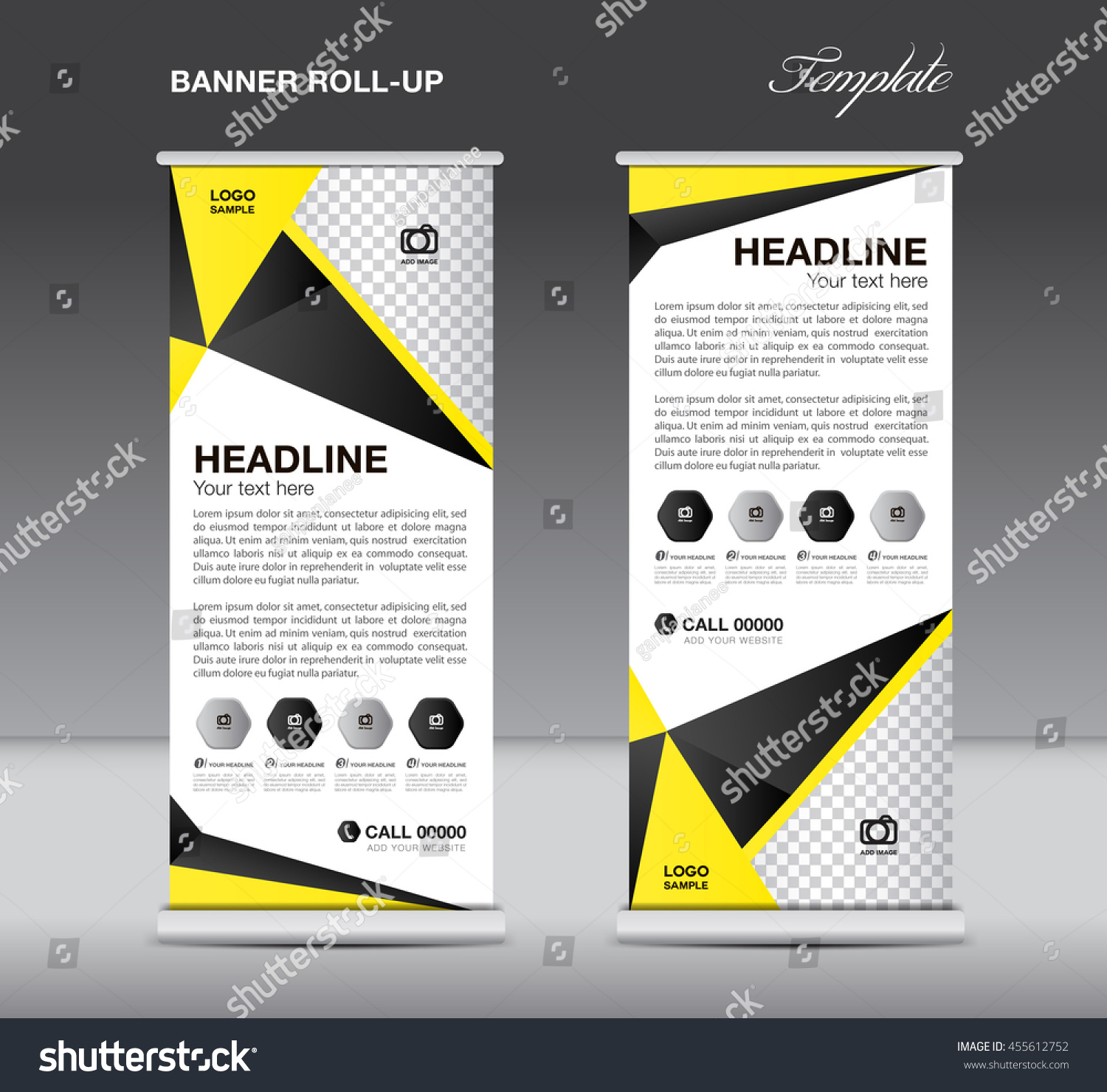 black and yellow roll up banner stand template flyer design black and yellow roll up banner stand template flyer design display advertisement layout
