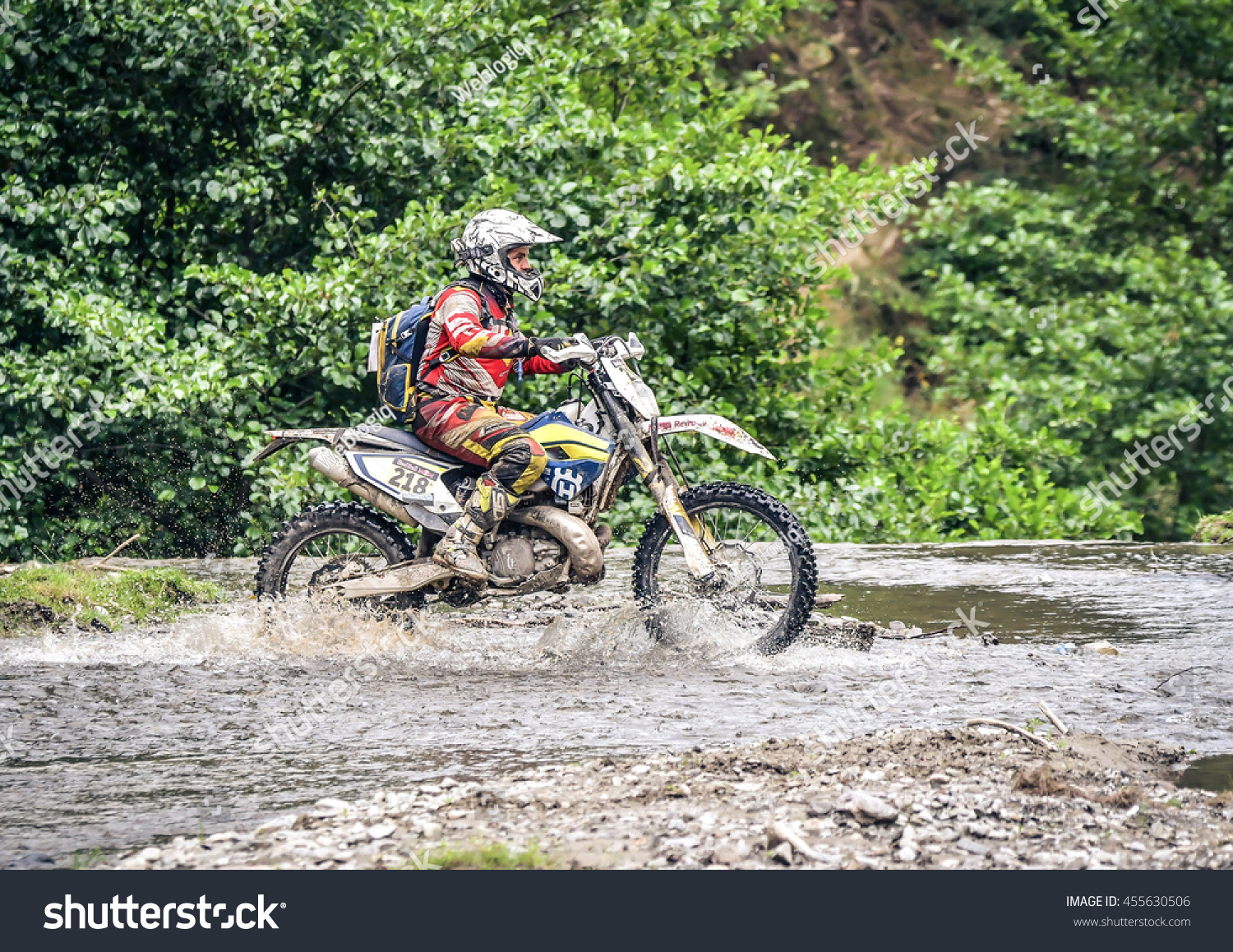 SIBIU ROMANIA JULY 16 Jurgen Engelhart competing in Red Bull ROMANIACS Hard Enduro Rally with a KTM motorcycle The hardest enduro rally in the world July 12-16 2016 in Sibiu Romania