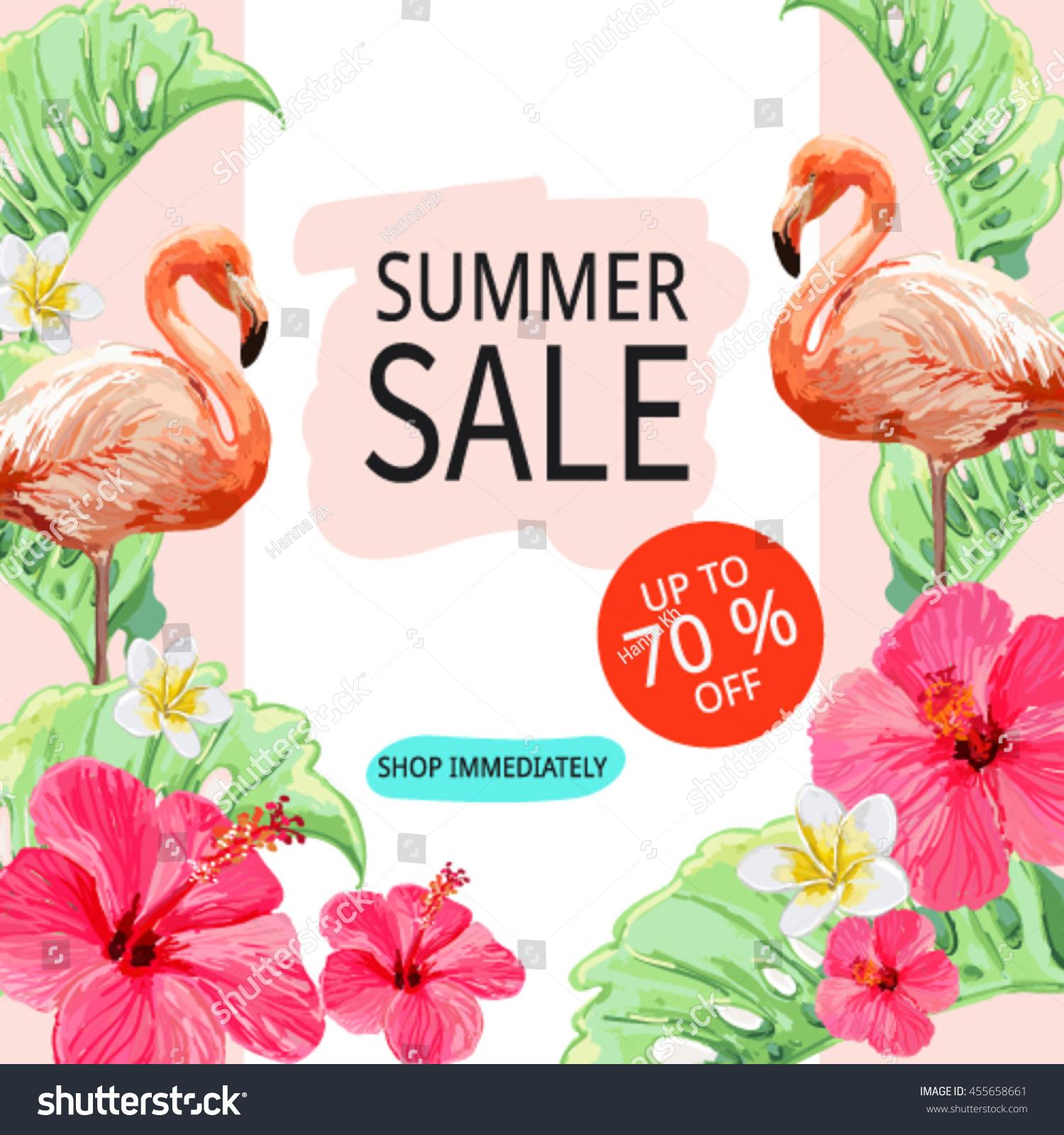 Botanical Print Wallpaper Sale Banner Poster Pink Flamingo Tropical Stock Vector