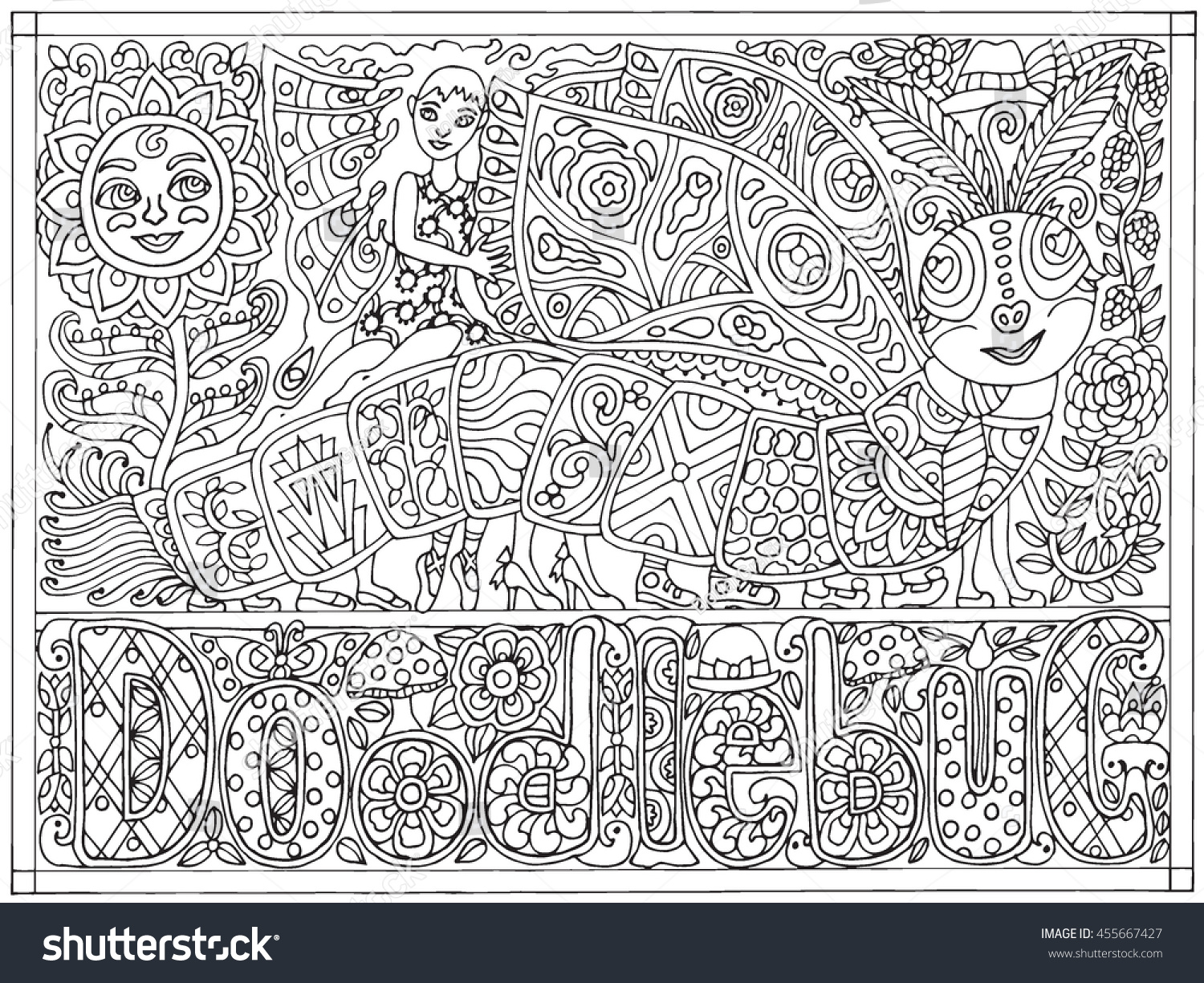 Doodlebug Hand Drawn Black And White Adult Color Book Vector Illustration Fairy Fantasy