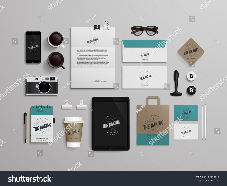 corporate identity template set logo sample のベクター画像素材