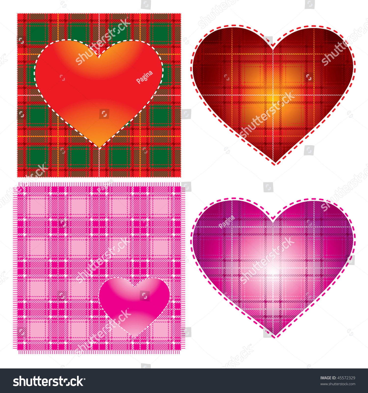 Vector Heart Background Day Textured Scottish Stock Vector Royalty
