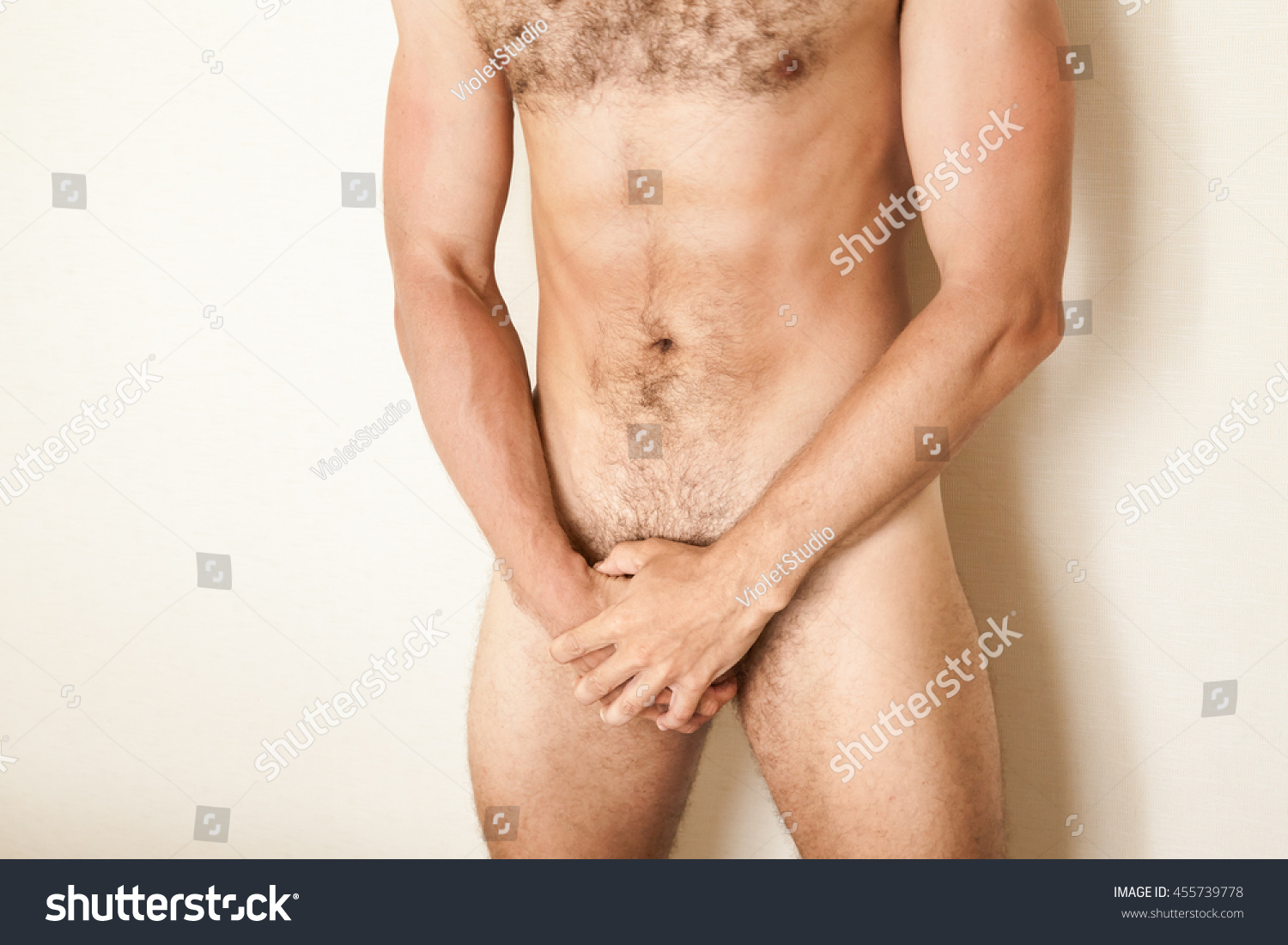 Naked Sporty Caucasian Man Cover His Stock Photo 455739778 -2424
