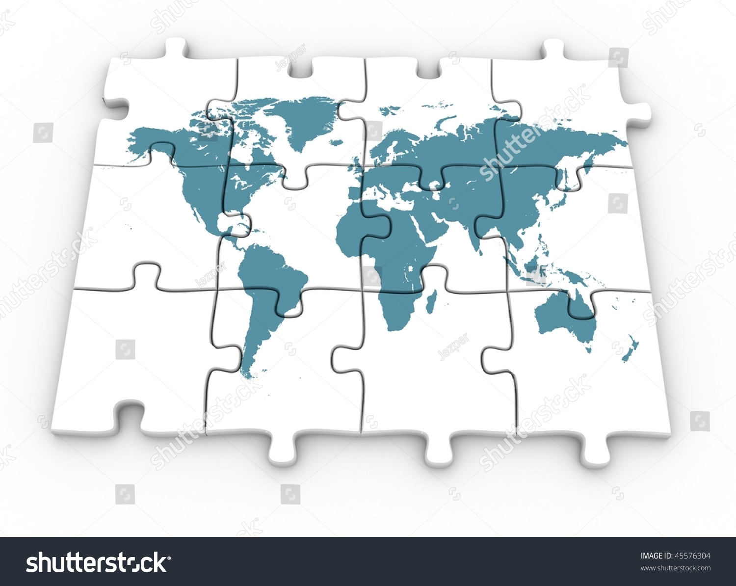 3d World Map On Jigsaw Puzzle Stock Illustration 45576304