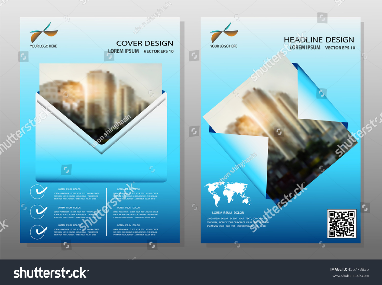 Flyer Design Background Blue Annual Report Brochure Modern Stock