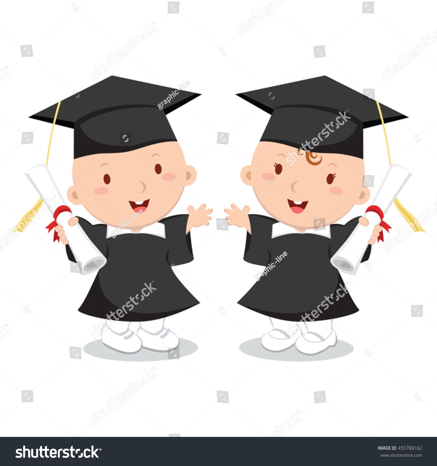 Baby Boy Girl Wearing Graduation Gown Stock Vector (Royalty Free ...
