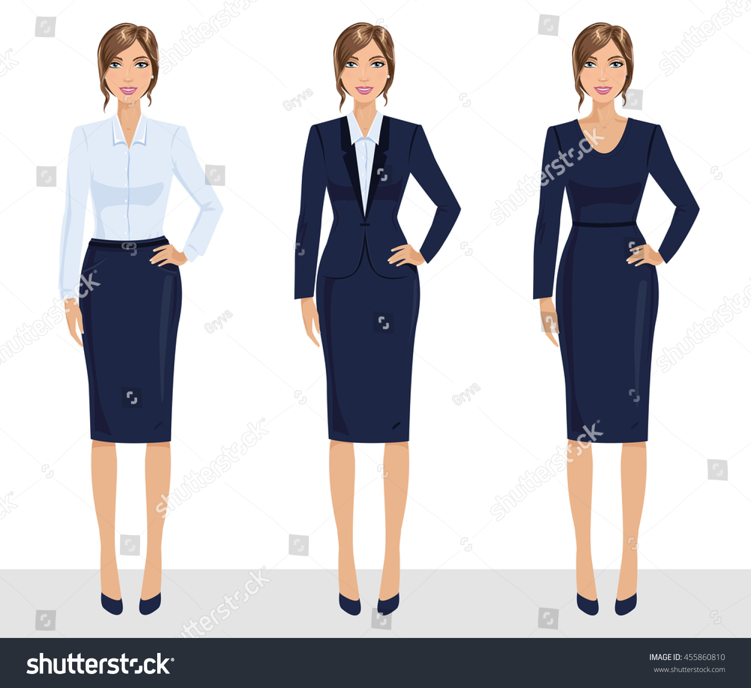 Elegant Pretty Business Woman Formal Clothes Stock Vector 455860810
