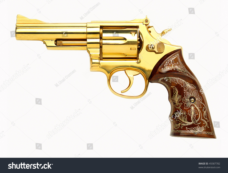 Golden Revolver Gun On White Background Stock Photo ...