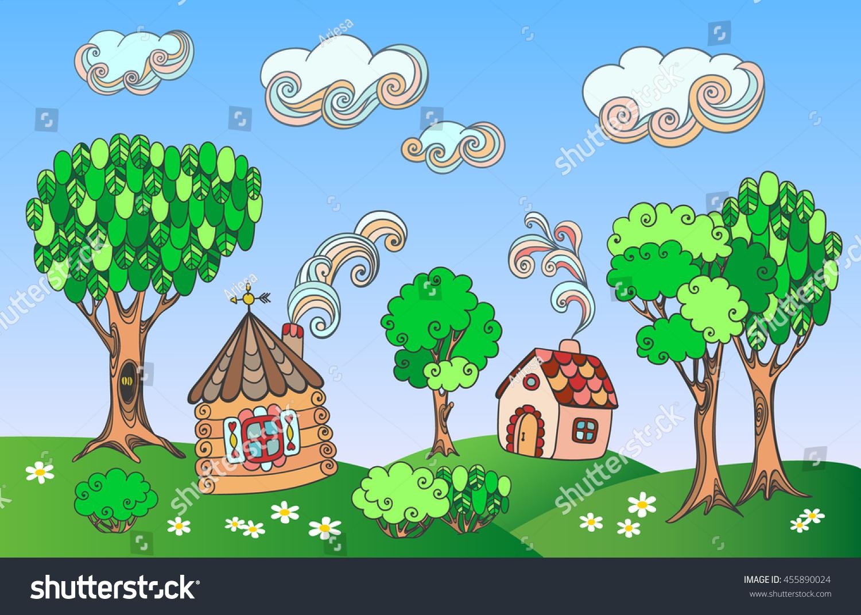 Village Summer Fantasy Landscape Cute Multicolored Stock Vector ...