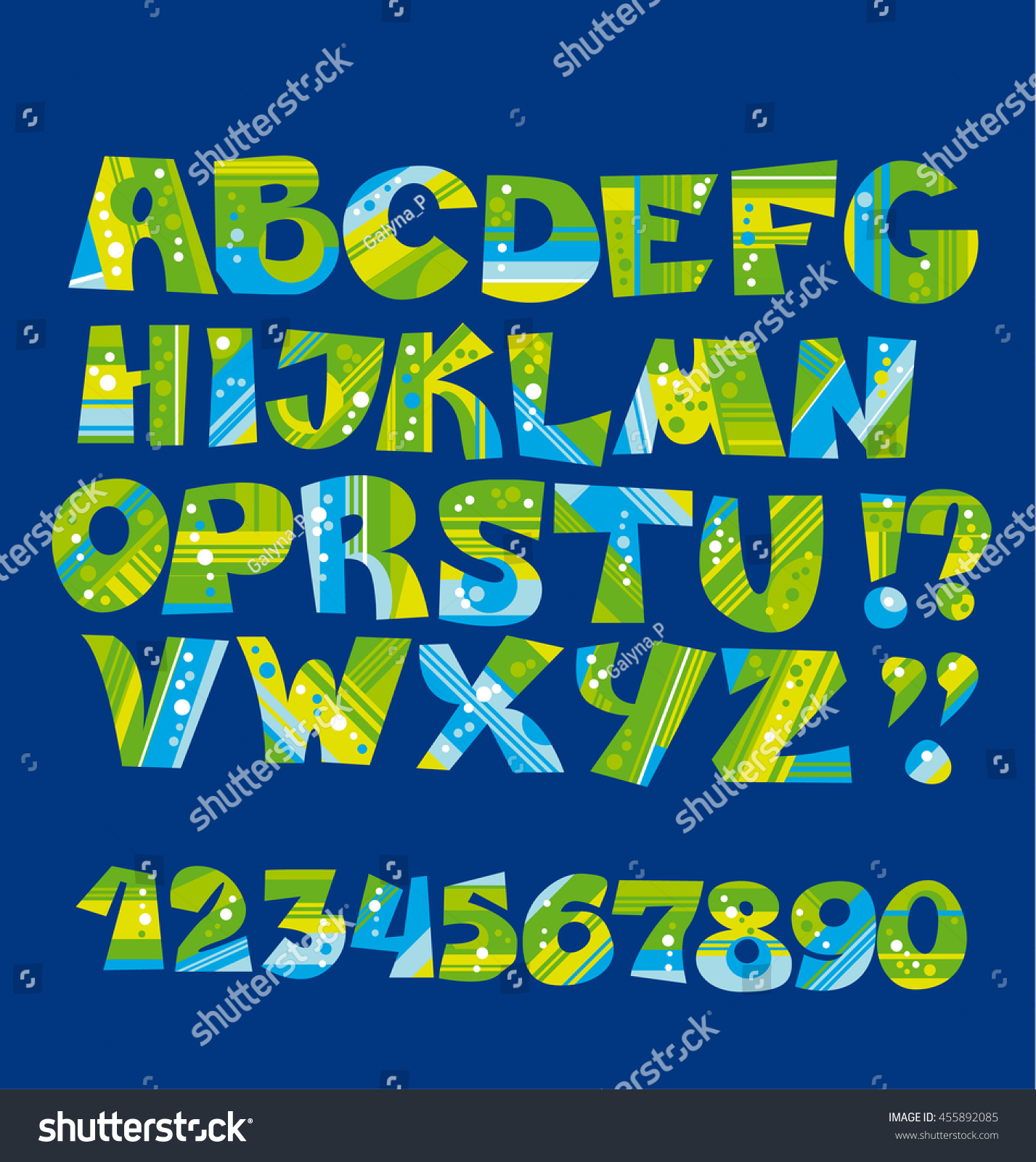 Bright Childish Style Letter Set Nature Stock Vector 455892085 ...