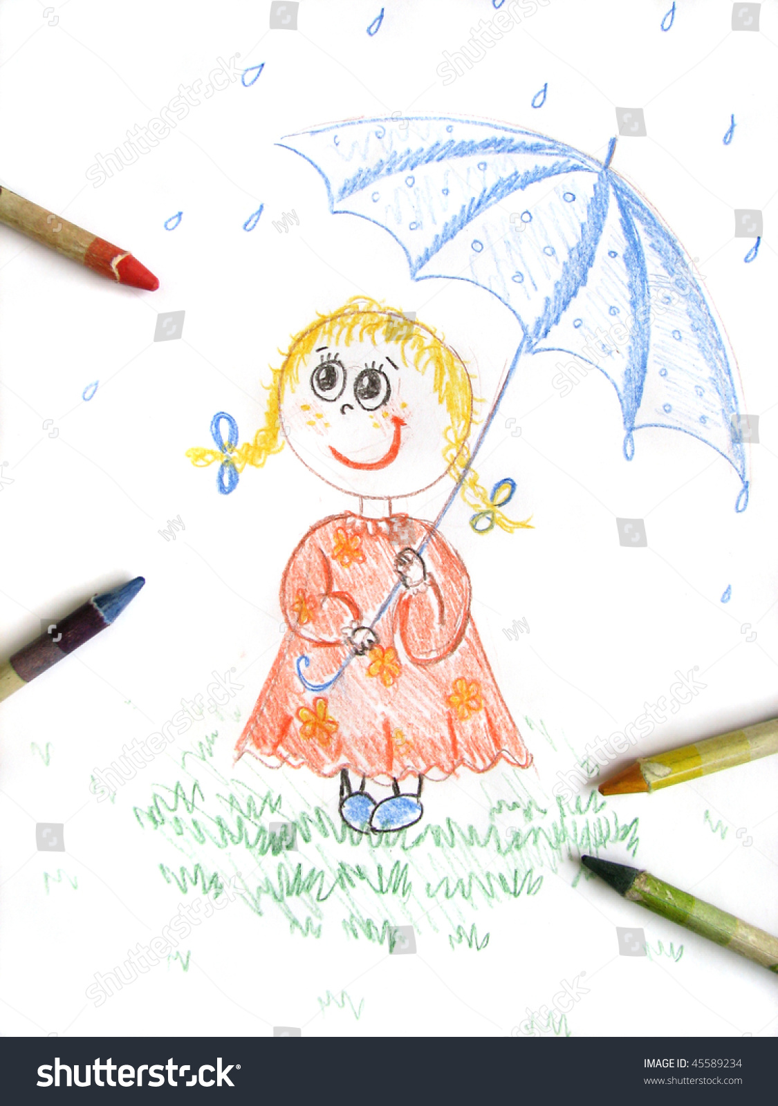 Kid girl with umbrella sketch kids colored pencil drawing