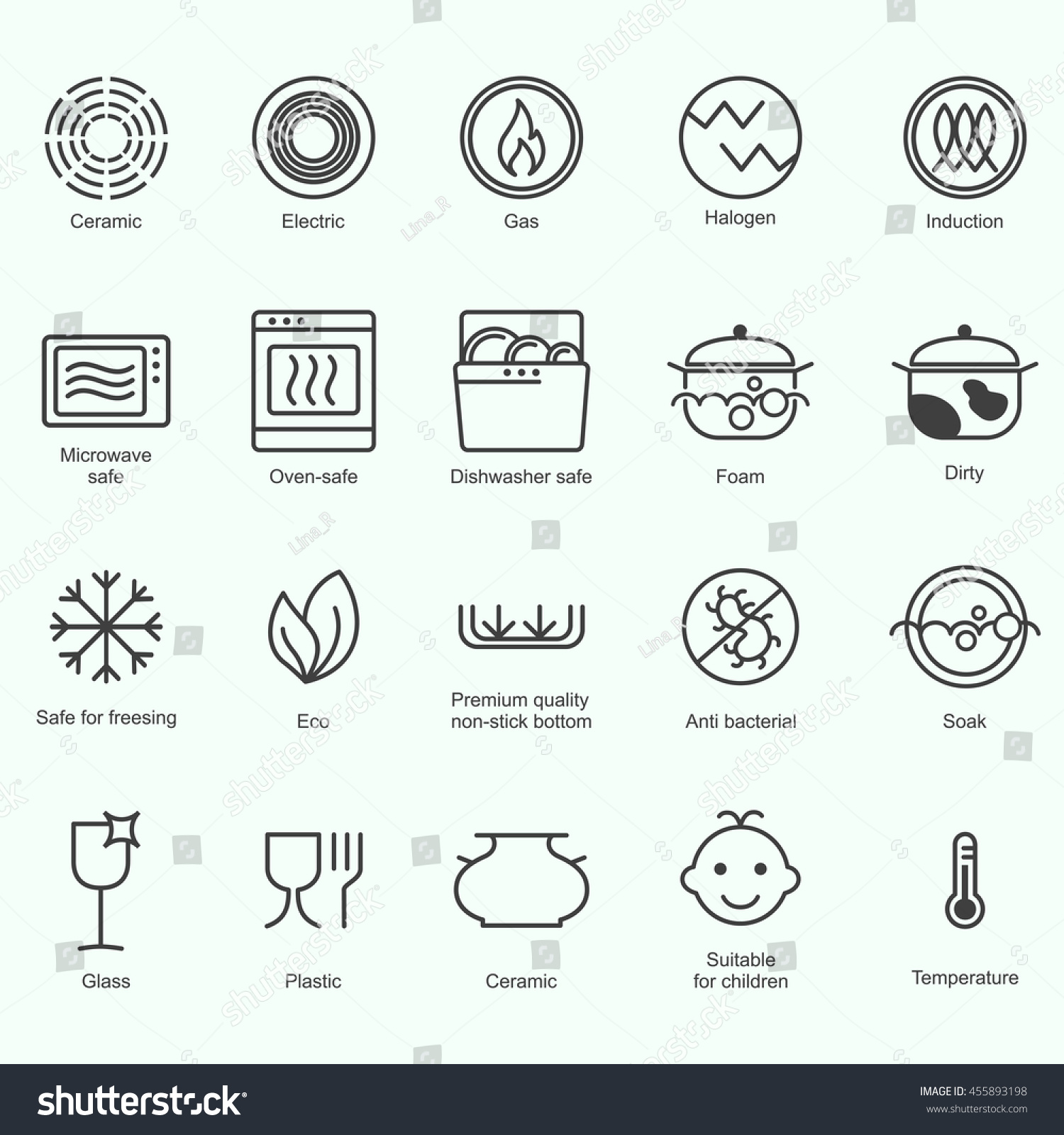 Symbols food grade metal indicate properties stock vector symbols of food grade metal indicate properties and destination of a metallic utensil properties of biocorpaavc Choice Image