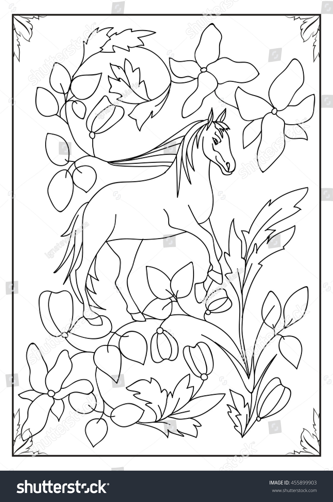 coloring book mythical horse stock vector 455899903 shutterstock