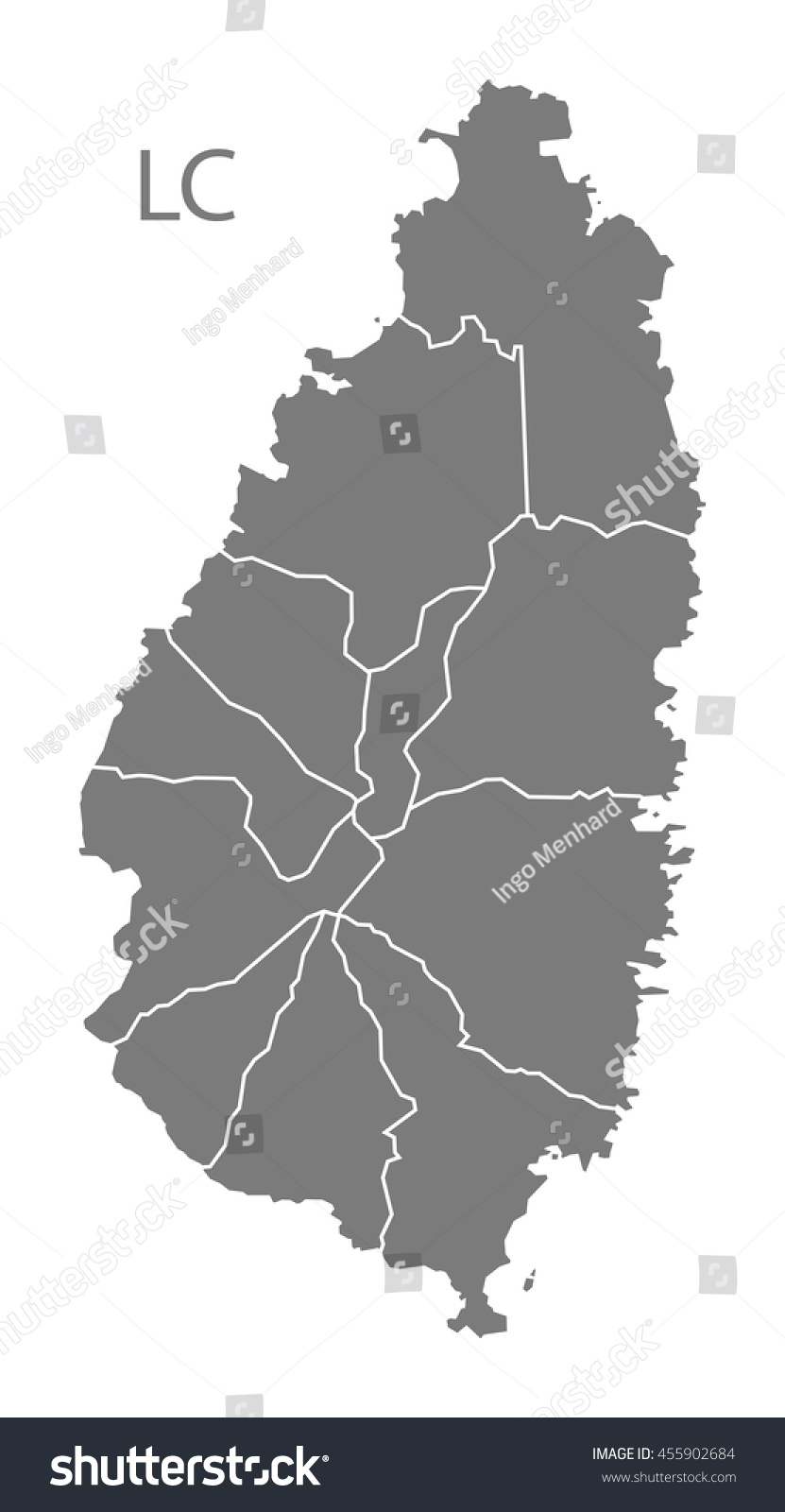 St Lucia Districts Map Grey Stock Vector 455902684 Shutterstock