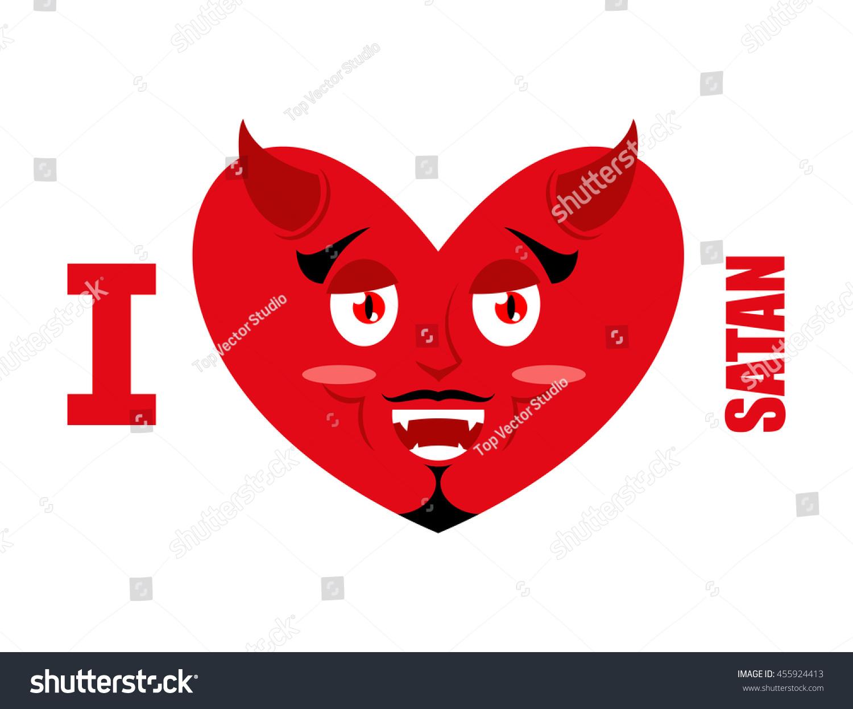 Love Satan Symbol Heart Devil Horns Stock Vector Royalty Free